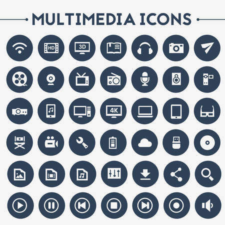 icons set: Trendy flat design big Multimedia icons set on round buttons