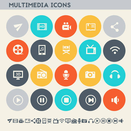multimedia: Modern flat design multicolored multimedia icons collection