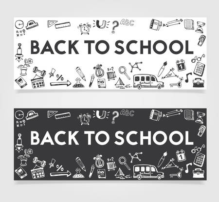 doodle text: Back to School doodle text and design elements ba Illustration