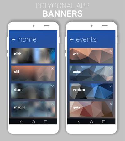 website header: Trendy blurred polygonal website header banner webdesign kit witn smartphone mockup