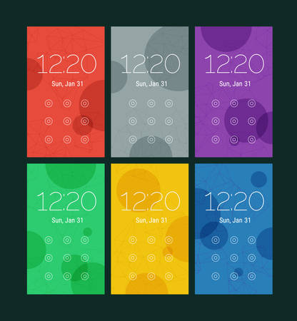 ui: Trendy mobile smartphone UI kit, abstract bright geometric backgrounds. Lock pattern screens
