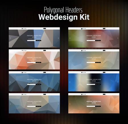 launching: Trendy blurred polygonal website header slider webdesign kit Illustration