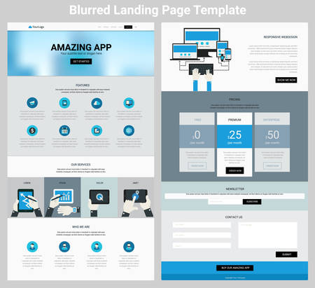website header: Material design responsive landing page or one page website template with blurred header Illustration