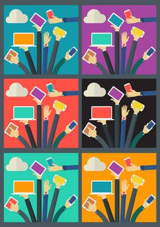 gadget: WiFi Gadget Social Network concept . Flat style  illustration online web