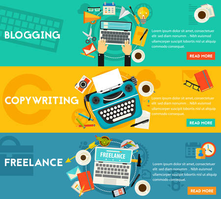 blogging: Blogging, Freelance and Copywriting Concept Banners. Horizontal composition, illustrations