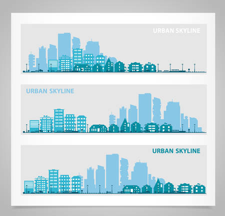 suburbs: Cityscape sets with various parts of a city. Small towns or suburbs and downtown silhouettes. Illustration divided on layers for create parallax effect Illustration