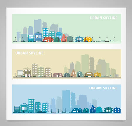 Cityscape sets with various parts of a city. Small towns or suburbs and downtown silhouettes. Illustration divided on layers for create parallax effect Иллюстрация