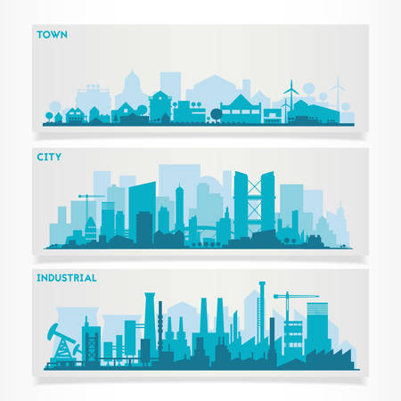 horizontal banners skyline Kit with various parts of city - factories, refineries, power plants and small towns or suburbs. Illustration divided on layers for create parallax effect Vettoriali