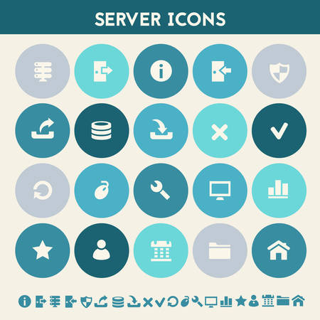 trend: Modern flat design multicolored server icons collection
