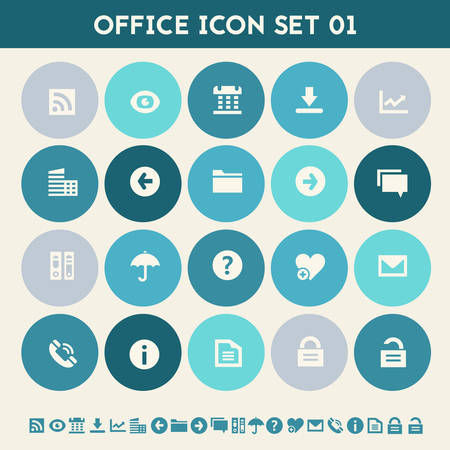 umbrela: Modern flat design multicolored office  icons collection