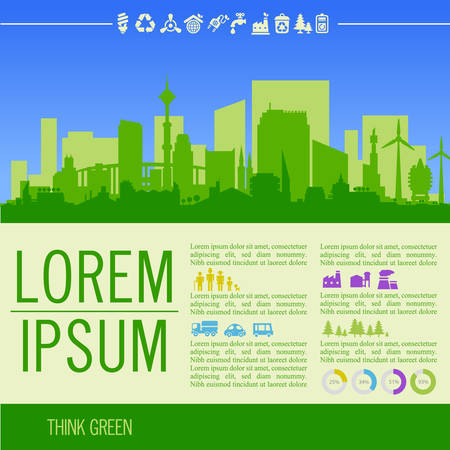 district': ecological illustration with downtown district and infographics Illustration