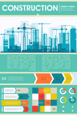 Construction illustration for websites. City skyline construction background with step and infographics elements Illustration