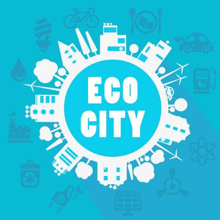 eco city, town concept with ecology icons