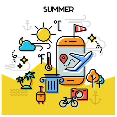 Weather and seasonal conceptual for mobile apps. Summer. Line bold design illustration online web