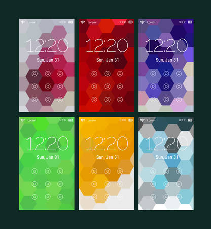 lock  futuristic: Trendy mobile smartphone UI kit, abstract bright geometric hexagonal backgrounds. Lock pattern screens