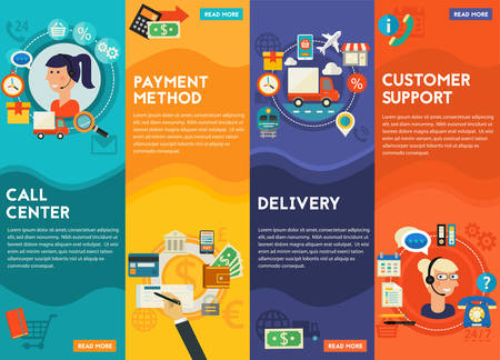 vector illustration: Customer Support, Call Senter, Payment Methods and Delivery concept banners. Flat style vector illustration online web banners