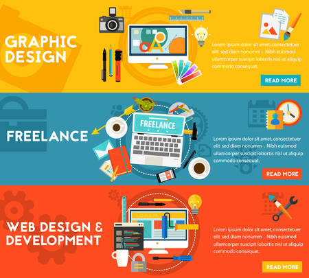 Graphic design, webdesign and development, freelance concept. Horizontal banners