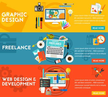 Grafische vormgeving, webdesign en ontwikkeling, freelance concept. horizontale banners