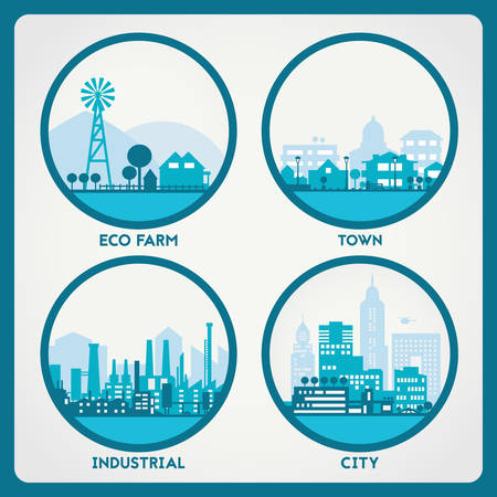 Abstract stylish cityscape circle background. Four banners collection with town, city, farm and industrial district