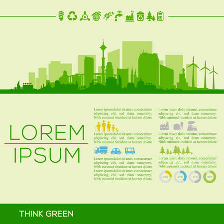 downtown district: Vector ecological illustration with downtown district and infographics