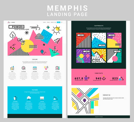 Trendy responsive landing page or one page website template, with rendy memphis style design geometric header and elements
