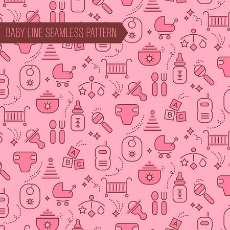 stuff toys: Seamless baby items pattern bakground, with baby care and toys, newborn stuff, nursery equipment, for girls Illustration