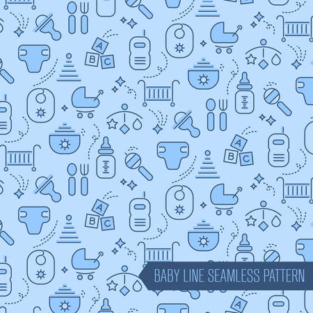 baby boys: Seamless baby items pattern bakground, with baby care and toys, newborn stuff, nursery equipment, for boys