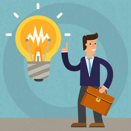 new idea: A new idea of a businessman. cartoon character illustration Illustration