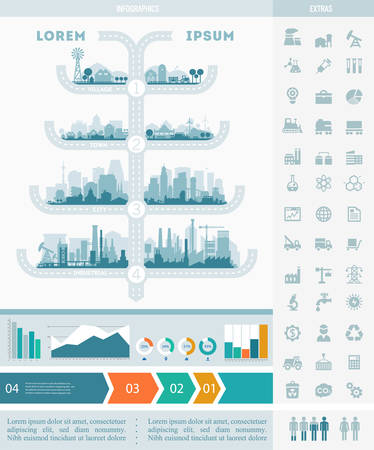 industrial industry: Abstract stylish cityscape infographics. Infographics elements collection with town, city, farm and industrial districts, with infographics elements and industry icons