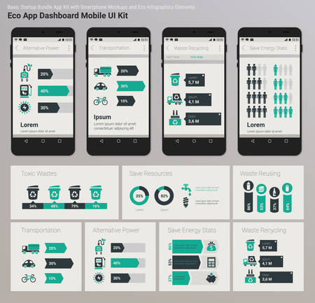 smartphone icon: Flat design Management and Administration Dashbord Eco New Energy inforgraphics UI mobile app template on trendy subtle blurred background, with smartphone mockups and infographics charts kit