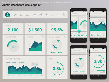 Flat design responsive Management and Administration Dashbord UI mobile app template on trendy subtle blurred background, with smartphone mockups and infographics charts kit Иллюстрация