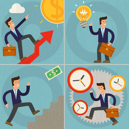 sucsess: concept cartoon character illustrations businessman running against time, running on up arrow, climbs a ladder of sucsess and having a new idea