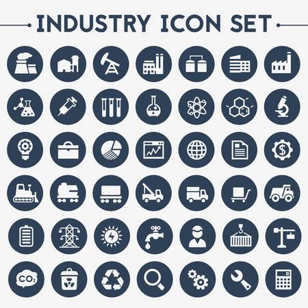 Trendy płaska duże ikony Przemysł ustawione na okrągłe przyciski Ilustracje wektorowe