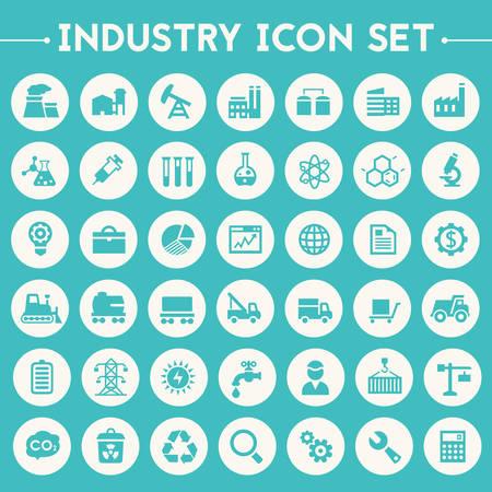 Trendy plat ontwerp grote industrie pictogrammen instellen op ronde knopen