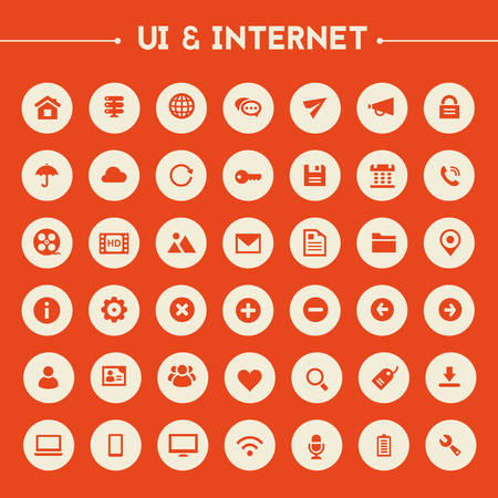Trendy flat design big UI and Internet icons set on round buttons