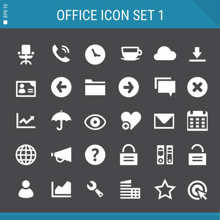 umbrela: Basic flat design multicolored office 1 icons collection