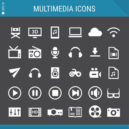 multimedia icons: Basic flat design multicolored multimedia icons collection Illustration