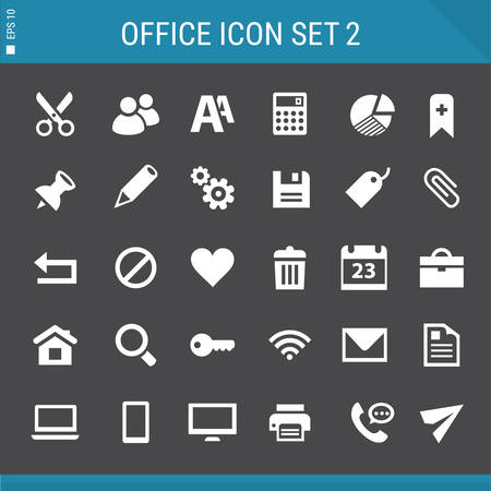 Modern flat design multicolored office 2 icons collection Illustration
