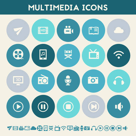 multimedia icons: Modern flat design multicolored multimedia icons collection