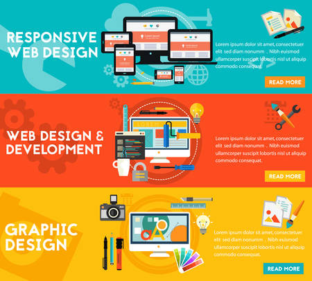 graphic illustration: Graphic design, responsive webdesign and freelance concept. Horizontal banners
