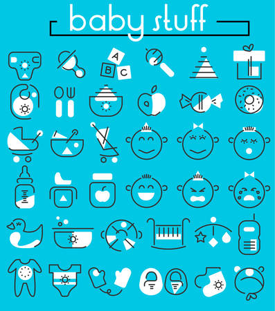 puree: Baby Stuff linear icons collection