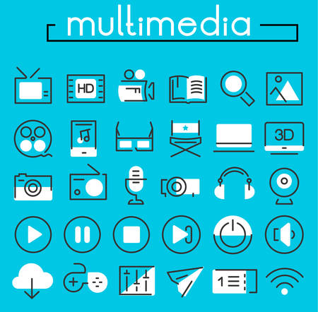 tv tower: Multimedia linear icons collection