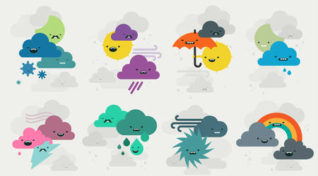 retina: Cute weather emojis characters collection