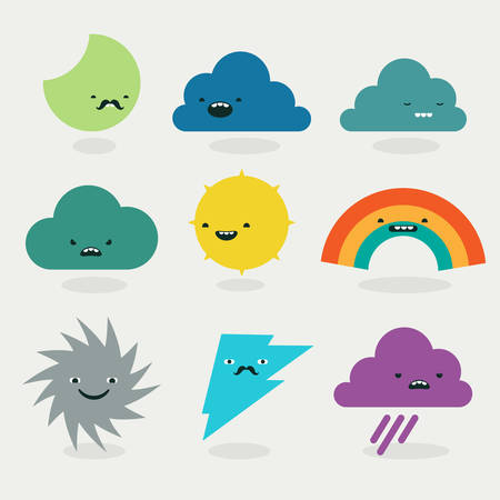 saun: Cute weather emojis characters collection