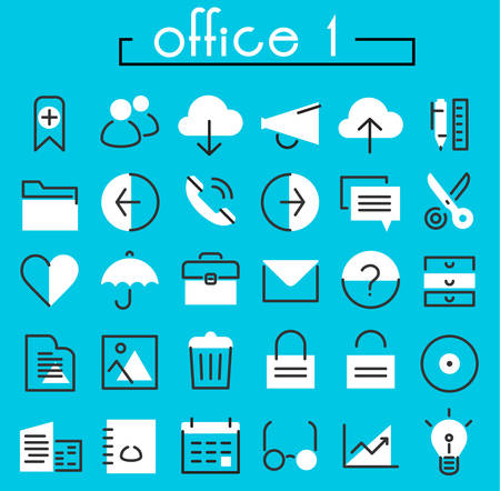 umbrela: Office 1 linear icons collection