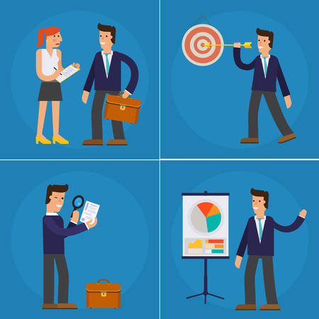 successful businessman: Four Illustrations of Cartoon Character Successful Businessman