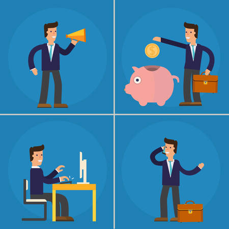 Four Illustrations of Cartoon Character Successful Businessman