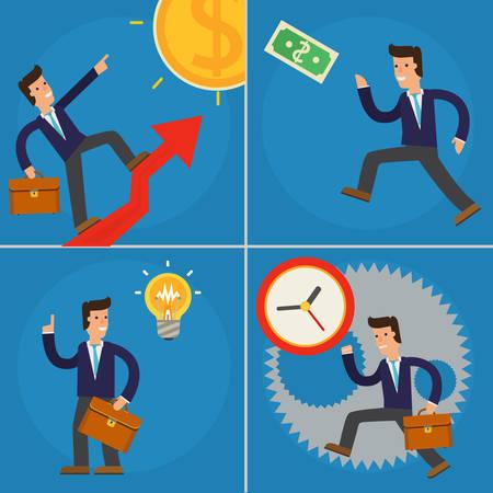 career development: Four Illustrations of Cartoon Character Successful Businessman
