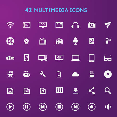 multimedia icon: Big Multimedia icon set Illustration