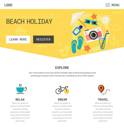 90s: Trendy responsive landing page or one page website template, with new retro 80s - 90s style design, for startups and apps. Illustration